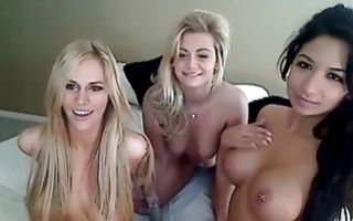Adorable lesbian threesome sex with perfect amateur sluts