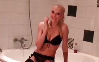 Sweet blonde ex-girlfriend insanely fucked in bathroom