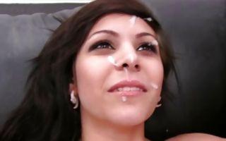 Stunning brunette girlfriend Raven has painful sex on sofa