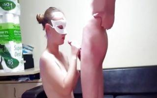 Nasty light-haired girlfriend sucking cock of depraved guy