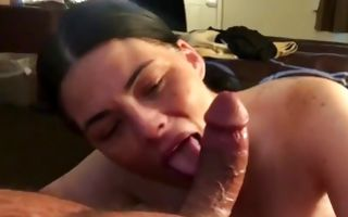 Impressive Ex-GF with round boobs making rough blowjob