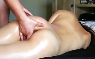 Brutal dude playing with cunt of nasty GF with round butt