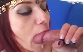Beautiful babe is rubbing her vagina while getting slammed hard core