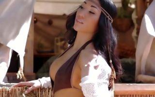 Amazing looking babe posing seductively touching her fine body
