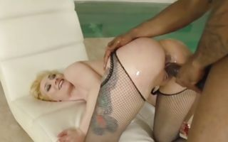 Blonde whore Luna Melba with small tits gets hammered next to a pool