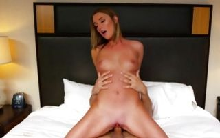 Tremendous ex-girlfriend riding on prick before blowjob