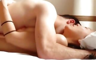 Asian couple making out on the bed and have amazing sex