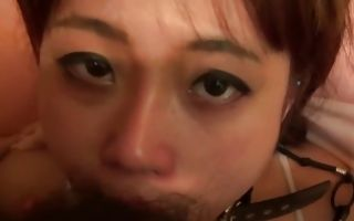 Cute Asian beauty all tight up gets her face destroyed with a dick