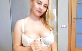 Hot blonde with giant boobs blowing his huge erect dick