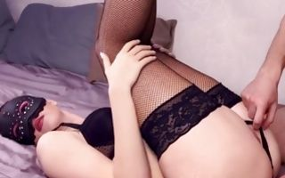 Horny babe wearing her lingerie blowing a cock