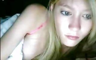Cute blonde teen girlfriend rubs her clit under a blanket in solo