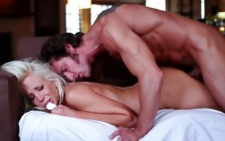 Horny blonde whore Eden Adams fucks and gets throated