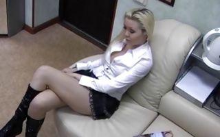 Horny blonde from Vorkuta loves rubbing clit in office