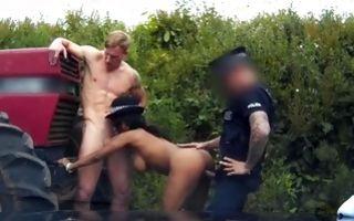 Two depraved fake cops fucking stunning whore Kiki