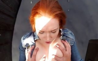 Hot redhead slut Candi Coxx fucked by horny fake cop