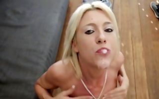 Pretty blonde girlfriend gets pussy fucked doggystyle in threesome