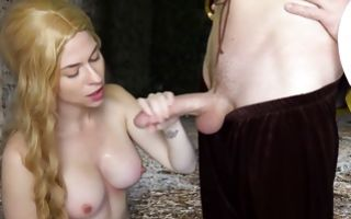 Naughty blonde with big tits gives a deepthroat blowjob