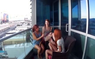Three naughty amateur lesbians lick pussies in veranda party