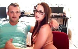 Kinky babe in glasses posing with boyfriend on webcam