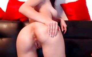 Hot big tits sweetie revealing beaver bending over on sofa