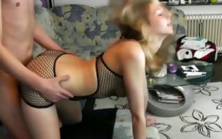 Cute blonde gets doggystyle pussy banged in homemade xxx