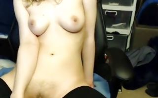 Mouthwatering tits blondie fucks pussy with dildo