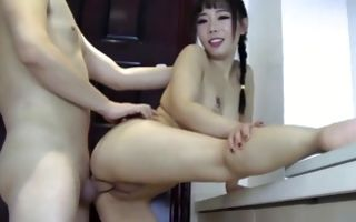 Gorgeous brunette asian gets pussy banged and sucks