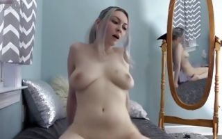 Young blonde girlfriend rides a dildo after sucking it in porn