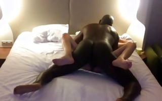 Naughty brunette gets doggystyle dicked in amateur interracial
