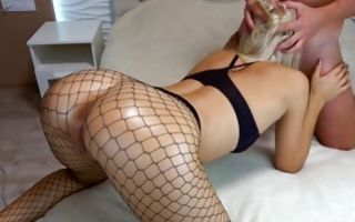 Naughty seductive blonde slut sucks a dick and gets doggystyle