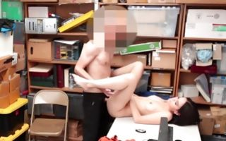 Innocent dark-haired floosie insanely riding on pecker