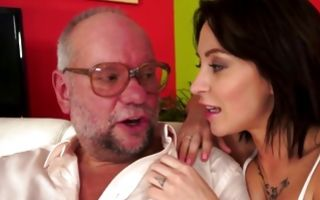 Depraved old man insanely fucking hot brunette Ex-GF