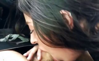 Naughty brunette amateur sucks a dick in a car xxx video