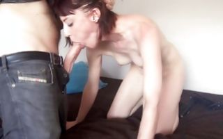Raunchy whore with small tits sucks a big cock hard