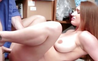 Hot floosie with big breasts has painful sex on desk