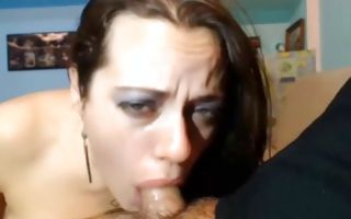 Nasty brunette Ex-GF deeply swallowing heavy cock