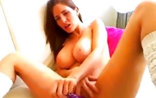 Brunette fucks her huge dildo with amazing boobs naked