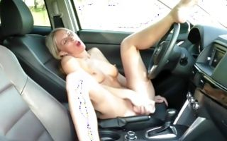 Raunchy blonde amateur whore fucks herself outdoors